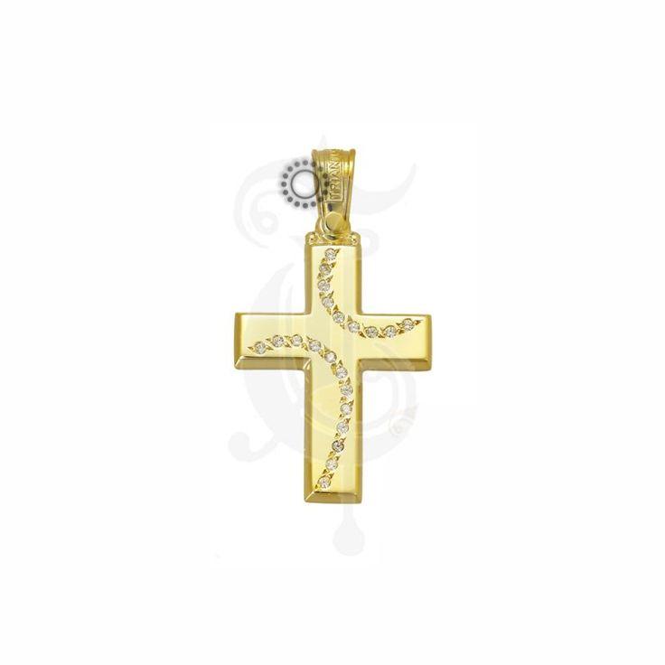 Ένας μοντέρνος σταυρός γυναικείος ή βαπτιστικός του οίκου ΤΡΙΑΝΤΟΣ από χρυσό Κ14 με δύο καμπύλες σειρές ζιργκόν.