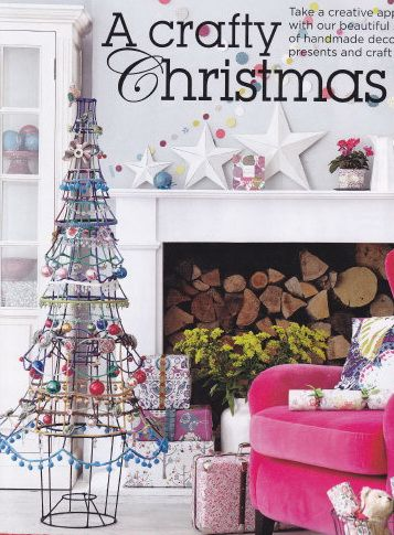 From the British magazine GoodHomes...THE COOLEST CHRISTMAS TREE like EVER! Made from repurposed lampshade wires, bits & baubles and sewing trims...LOVE IT!!!