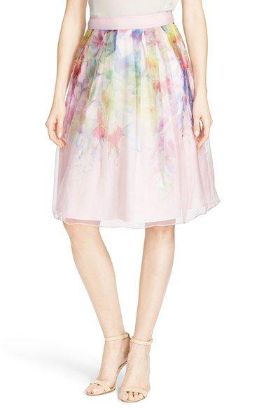 Ted Baker London 'Glenis' Floral Print Silk Skirt