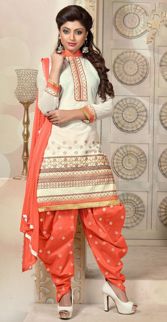 USD 37.55 Cream Cambric Cotton Punjabi Suit 47281
