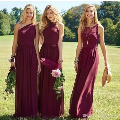 A8 burgundy bridesmaid dresses 2017 new floor length mixed styles chiffon lace wedding party dresses cheap summer maid of honor gowns