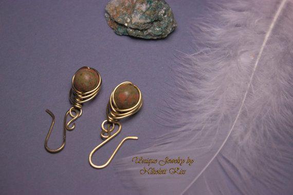 Simple Copper Wire Unakite Earrings by NikolettKissJewelry on Etsy
