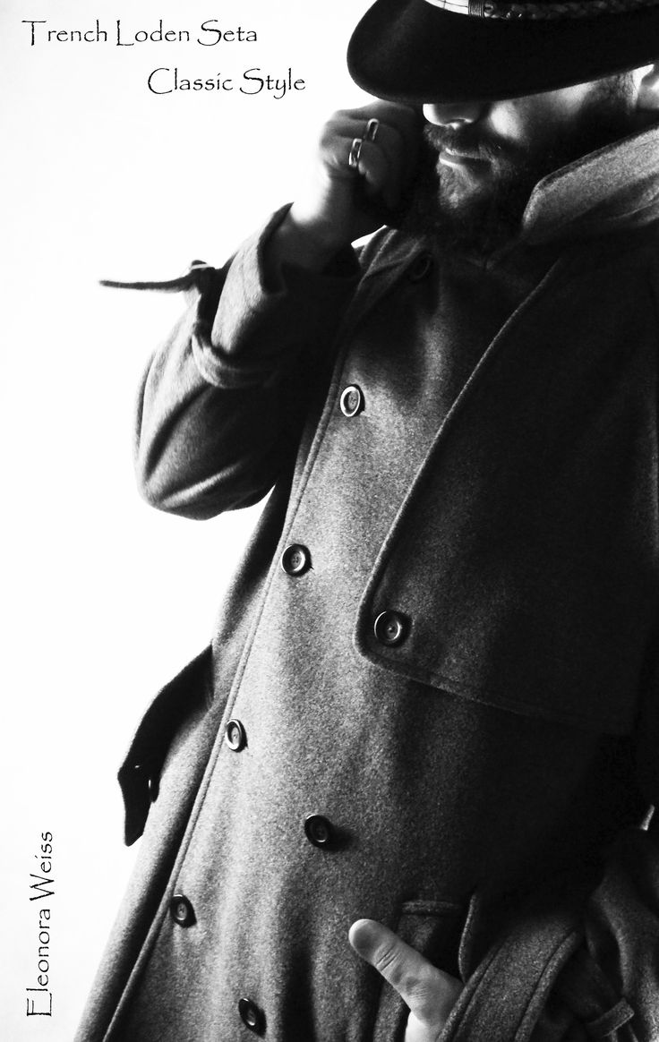 Classic Man Trench in loden seta