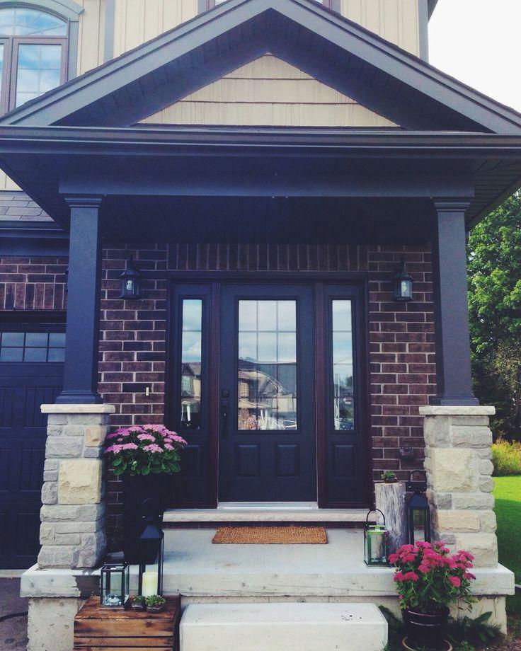 front porch. fall feelings. crates. lanterns. sedum. stone.