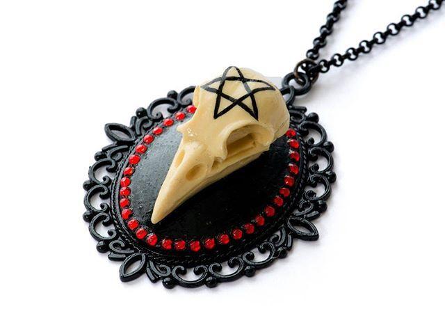 """Pentagram Crow Skull"" necklace www.crmc-clothing.co.uk #emo #grunge #kitsch #diy #handmade #jewelry #jewellery #skull #crow #pentagram #witch #occult #satanic #sale #limitededition #awesome #tattooedgirl #tattooedwomen #metal #grungegirl #goth #gothgirl #fashion #alternative #alt"