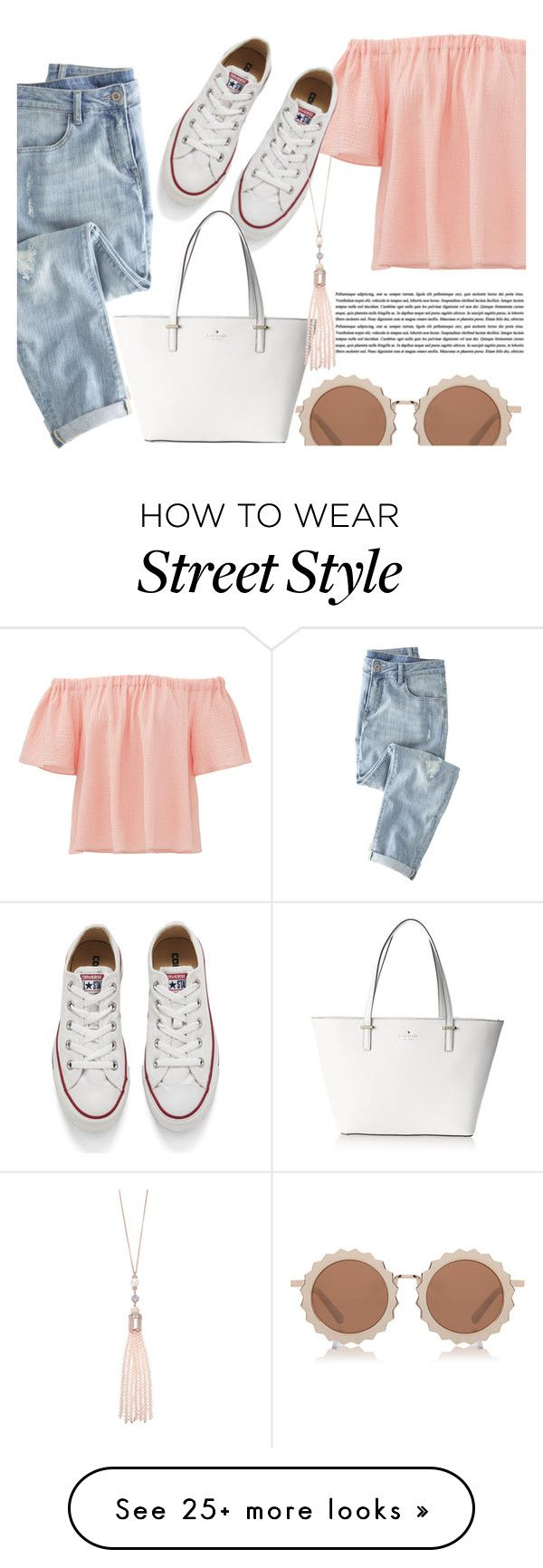 """""""casual thursday"""" by marynz-22 on Polyvore featuring Wrap, Rebecca Taylor, Converse, House of Holland, Kate Spade, Oasis, fashionset and polyvoreeditorial"""