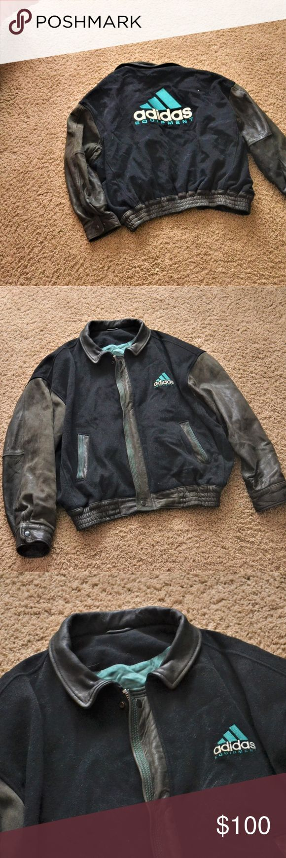 90 s  A D I D A S   L E A T H E R  J A C K E T // Amazing Vintage Adidas Leather Jacket  Genuine leather  90s   Mens size XL   ask for measurements adidas Jackets & Coats Bomber & Varsity