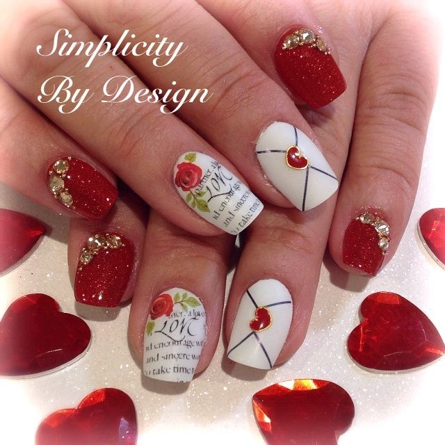 Valentine S Day Nails Art: 420 Best Images About Valentines Day Nail Art On Pinterest