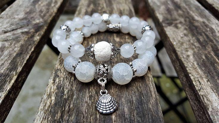 Set of 2 stretch gemstones bracelets. Jade, lava stone, agate and antique silver shell charm. Bohemian Fashion Boho Yoga Beach Jewellery