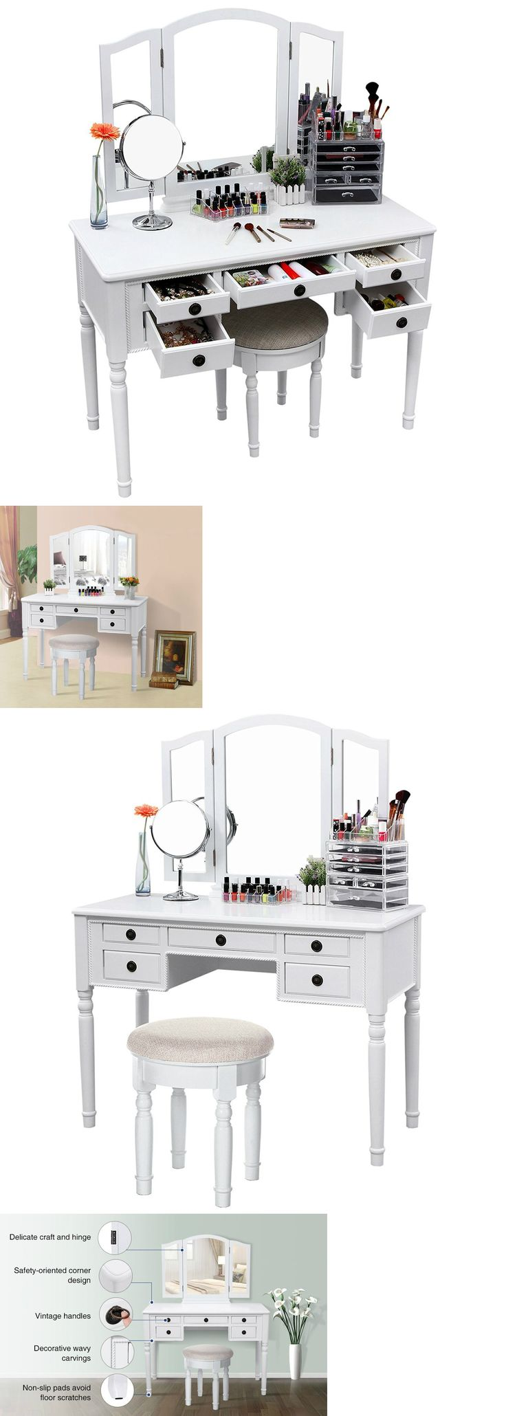 Black vanity salons vanities habitats the mirror outlets mirror - Vanities And Makeup Tables 32878 Mirrored Vanity Desk Makeup Set Dressing Table Top Stool Bedroom