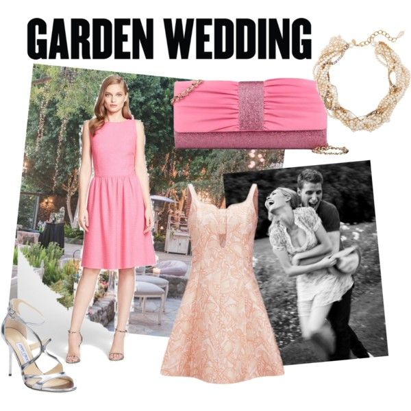 Pink and Pink Garden Wedding Dress Show On by ve-ethnic-channel on Polyvore featuring St. John, Opening Ceremony, Jimmy Choo, GF Ferre, Erickson Beamon and gardenwedding