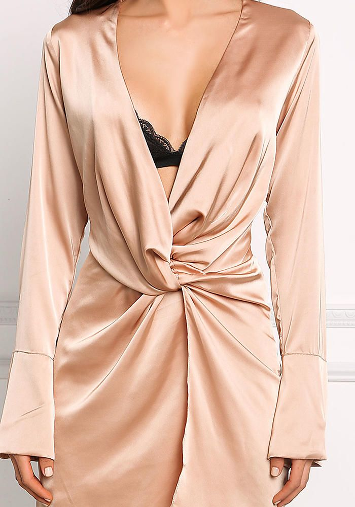 Camel Silky Plunge Twisted Dress - Going Out - Dresses