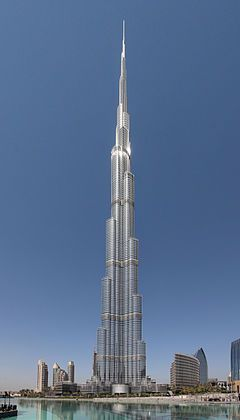 """The tallest in Asia, the Burj Khalifa (Arabic: برج خليفة, """"Khalifa Tower""""), known as Burj Dubai prior to its inauguration, is a skyscraper in Dubai, United Arab Emirates, and is the tallest man-made structure in the world, at 829.8 m (2,722 ft)"""