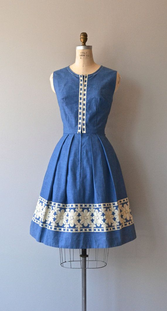 Stubete dress chambray 60s dress embroidered folk by DearGolden