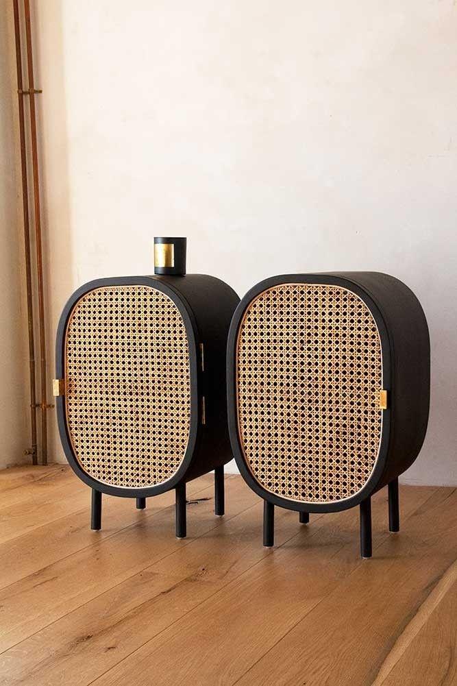 Set Of 2 Sungkai Woven Cane Mango Wood Bedside Cabinets Rockett St George In 2020 Bedside Table Contemporary Mango Wood Bedside Boho Bedside Table