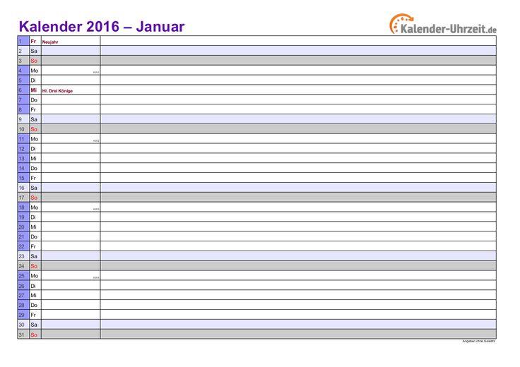 Kalender 2016 in LILA - A4, Querformat, 12-SEITIGER Monatskalender 2016 http://www.kalender-uhrzeit.de/kalender-2016#Kalender_PDF_Excel #KalUhr