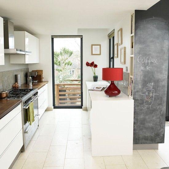 White gloss galley kitchen | Modern kitchens | Kitchens | Housetohome.co.uk