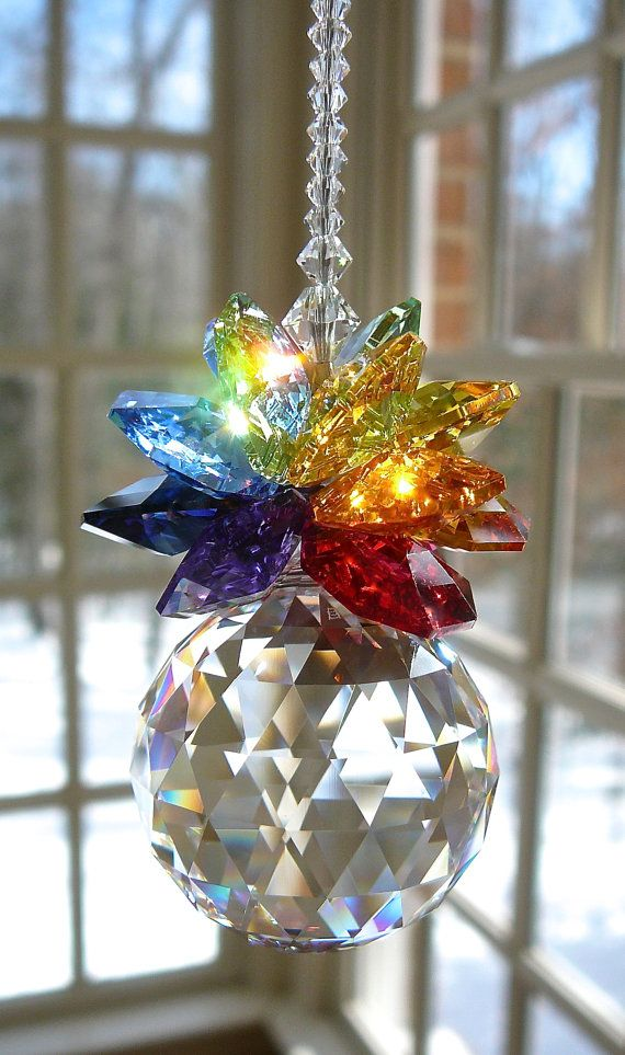"Swarovski Crystal with 30mm Swarovski Ball and Swarovski Octagons in Rainbow Colors - ""OLIVIA GRANDE RAINBOW"" - Crystal Pineapple, 10"" Long"