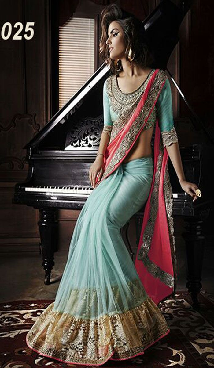 Pallu - Georgette With CutWork Embroidered Lace Skirt - Net With Raschel Net And Satin Inner Blouse - Necklace Pattern Work With Hand WOrk On Banglori Silk