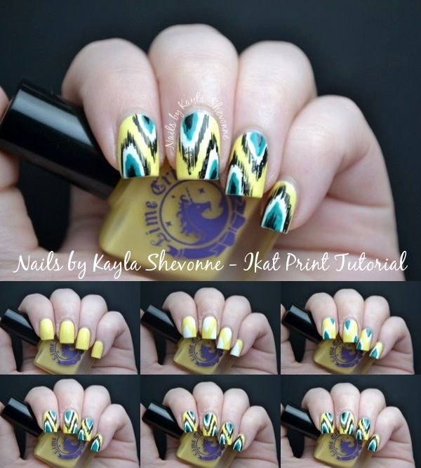Nail Art Tutorial - Ikat Print Design  I think this design is really cute on nails and seems easy to do!...until you try and do the other hand..