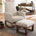 Yashiya Mid-Century Beige Fabric Upholstered Rocking Chair and Ottoman Set