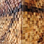 Lululemon store at Yorkdale Shopping Centre in Toronto.  Mosaic located at entrance.  Made from 35,788 wooden blocks each 2 inches square.