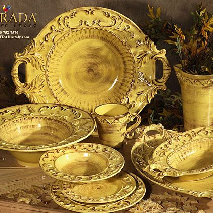 Delight your guests and bring a taste of Tuscany into your dining experience! Even the name is stunning – Baroque Italian Dinnerware – each piece is formed, painted and glazed...