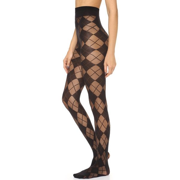 Alice + Olivia Semi Sheer Argyle Tights - Black (£35) ❤ liked on Polyvore featuring intimates, hosiery, tights, stocking, nylon pantyhose, sheer stockings, nylon tights, sheer hosiery and argyle stockings