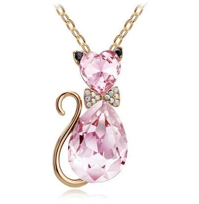 Cat Charm Crystal Necklaces