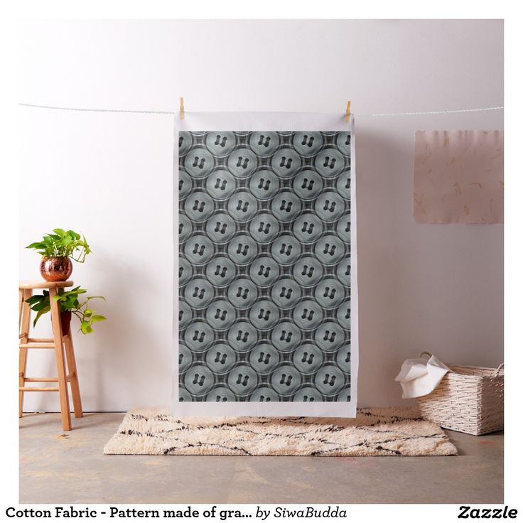 Cotton Fabric - Pattern made of gray buttons