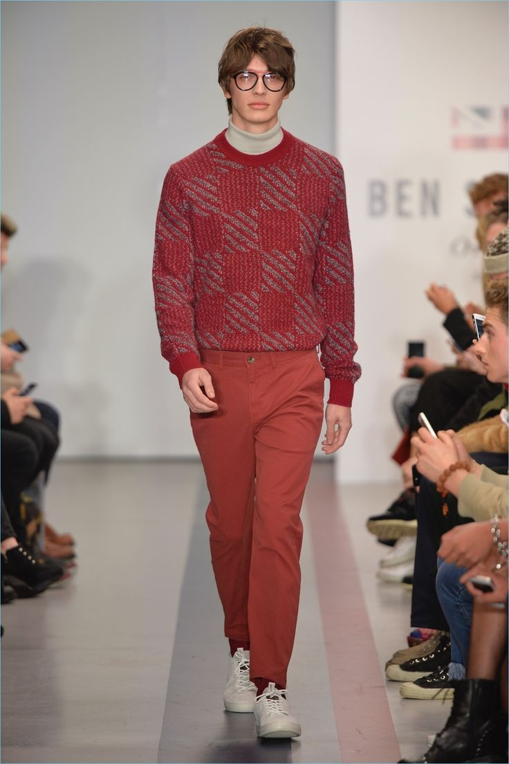 Monochromatic dressing comes into play with a red number from Ben Sherman's fall-winter 2017 collection.