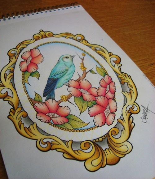 Something like this on my thigh but with a cardinal and peach colored roses for my gram