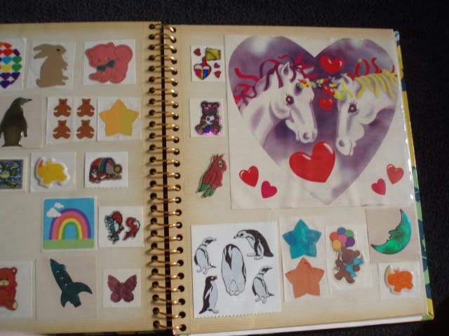 A smart person's sticker album!  She left the stickers on the paper before putting them in the album!