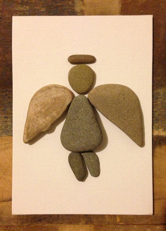 Beach stones hand selected from a beach on the Central Coast of California. Used in a collage on a 7 X 5 canvas-Gaurdian Angel