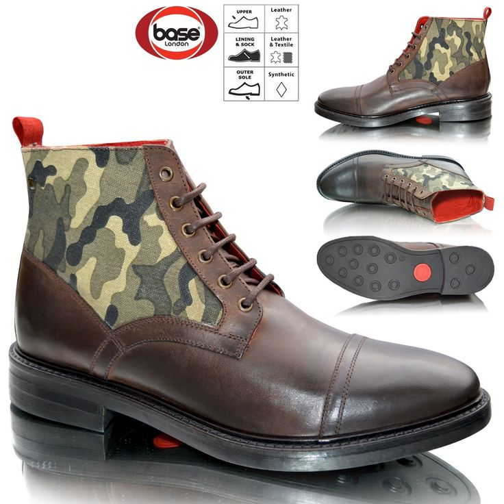 New Mens Leather Combat Smart Cowboy Military Army Biker Ankle Boots Size 6-12 Eton College is perhaps the world's most exclusive school, these shoes are based of the incredible smart uniform that attending boys have to wear. These boots do have a really cool waxy finish, a high laced fastening and a red contrast lining so they look good even off your feet.  Mens Military Boots#Mens Biker Boots#Mens Combat Boots