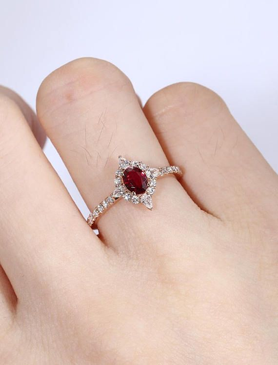 Oval Natural Ruby Engagement Ring Vintage Engagement Ring Unique