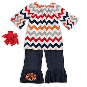 Chevron Denim Ruffle Pant Set