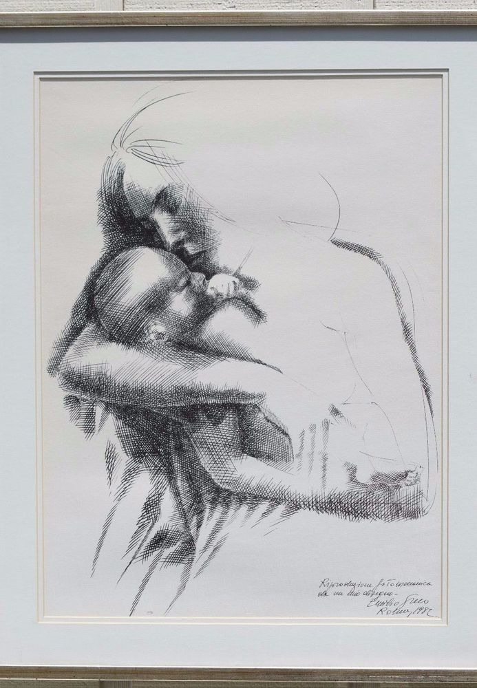LARGE EMILIO GRECO (1913-1995) FRAMED PRINT MOTHER CHILD SIGNED 1982 NURSERY