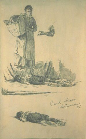 Untitled (Woman with Basket & Boy), 1885, Carl von Marr, Museum of Wisconsin Art, 0327.