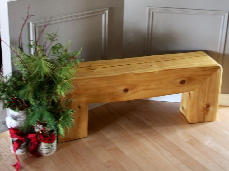 This cedar bench was handcrafted from a log that washed up on the shores of  Lake