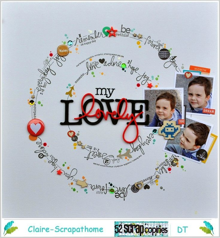#papercrafting #scrapbook #layout - My Lovely Love scrapbook layout by Claire