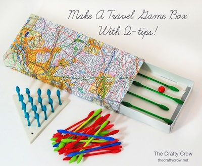 travel games and box made with Q-tipsStorage Boxes, Boxes Finish, Amazing Travel, Travel Tips, Q Tips Travel, Activities, Q Tips Games, Games Boxes, Travel Games
