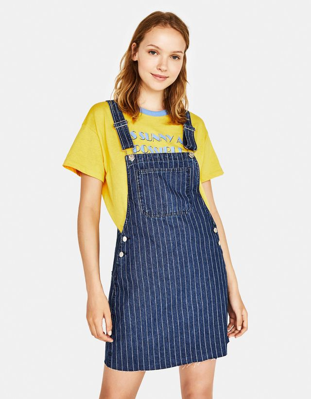 c9ab0870838 Denim pinafore dress with stripes - Bershka  fashion  newin  trend  trendy   cool  girl  girly  teen  young  bsk  product  style  outfit  ideas   inspiration ...
