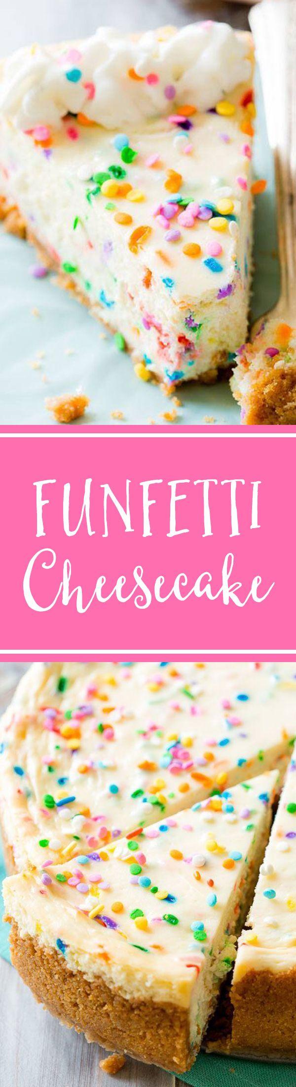 Funfetti Cheesecake on sallysbakingaddiction.com. Doesn't get much better than this!