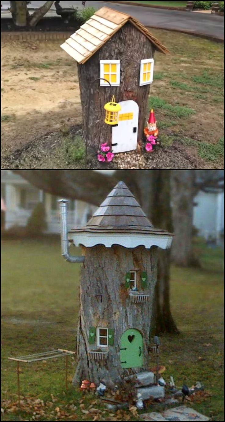 Tree stump fairy house - Make A Cute Fairy House From An Ugly Tree Stump