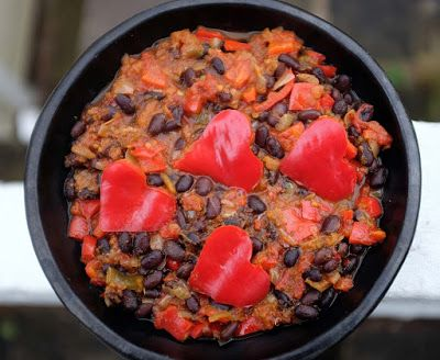 Red Pepper Chili Hearts and Black Beans - a Valentines special for #SumaBloggersNetwork by @shaheenA2K