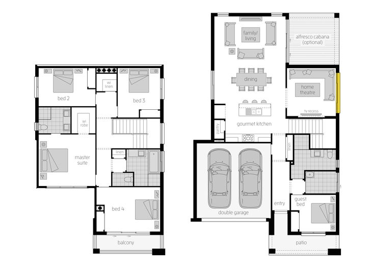 Tribeca 28 Floor Plan - The Tribeca 28 resonates thoughtful positioning throughout, including placing the Double Garage only a few footsteps away from the Gourmet Kitchen makes everyday tasks like taking in the groceries simpler.   Read more at http://www.mcdonaldjoneshomes.com.au/home-designs/tribeca/floorplans #homedesigns #twostorey #mcdonaldjones #mcdonaldjoneshomes