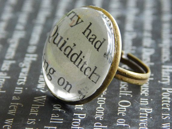 Harry Potter jewellery  Quidditch ring  J.K. by UpcycledBookClub