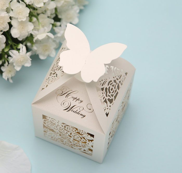 White Laser Cut out Flower Butterfly Wedding Candy Boxes Wedding Favors #weddingfavorbox