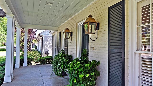 Gas Lanterns for Home Porches | Gas Lanterns, painted brick, shutters